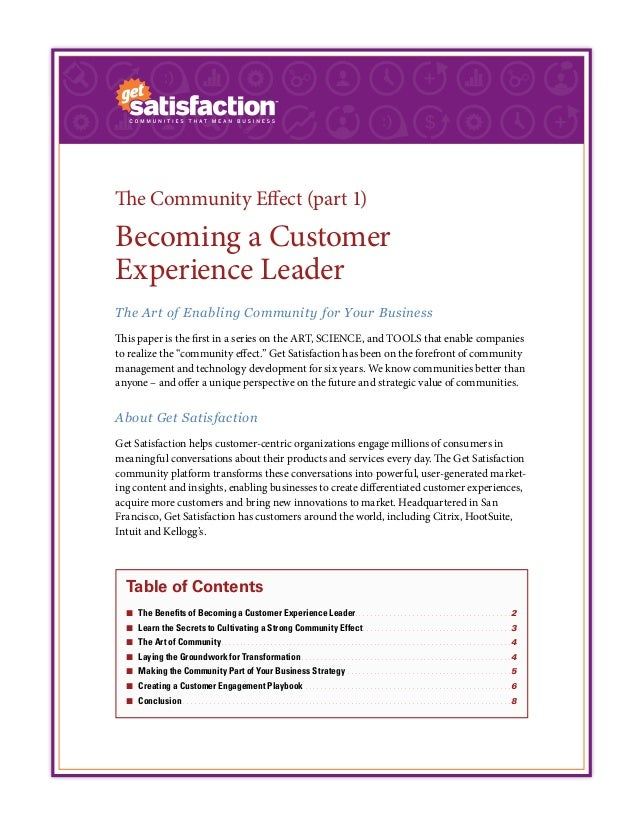 The Community Effect (part 1) Becoming a Customer Experience Leader The Art of Enabling Community for Your Business This p...