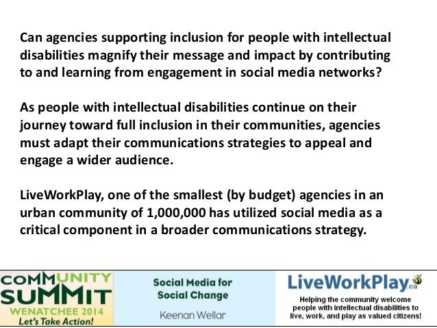 Can agencies supporting inclusion for people with intellectual disabilities magnify their message and impact by contributi...