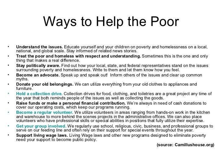 Ways to help the poor essay