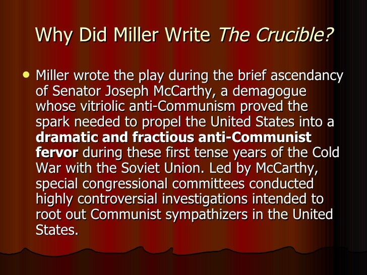 Creating an outline for McCarthyism and the Crucible.?