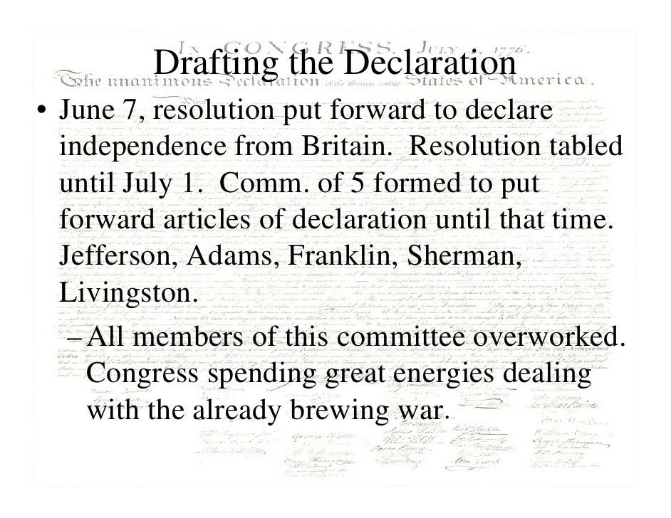 the introduction of the declaration of independence A summary of preamble in thomas jefferson's the declaration of independence while this phrase was included in the introduction to the declaration.