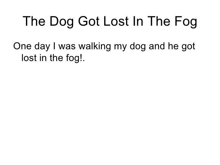 The Dog Got Lost In The Fog <ul><li>One day I was walking my dog and he got lost in the fog!. </li></ul>