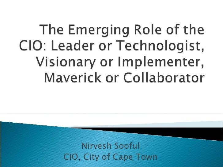 Nirvesh Sooful CIO, City of Cape Town