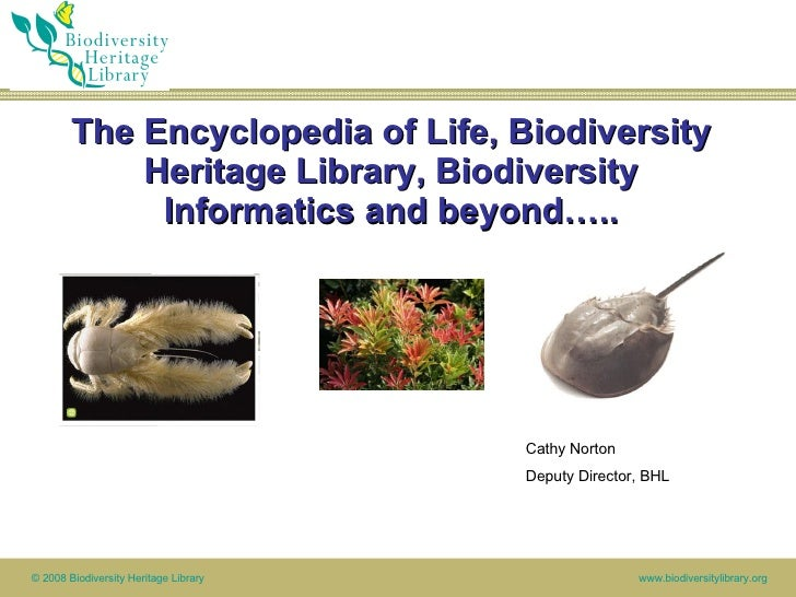 The Encyclopedia of Life, Biodiversity Heritage Library, Biodiversity Informatics and beyond….. MBLWHOI Library Cathy Nort...