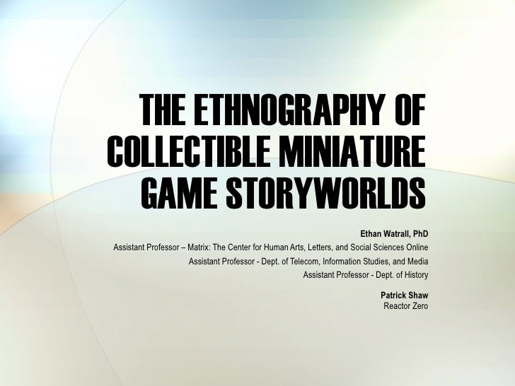 The Ethnography Of Tabletop Miniature Game Storyworlds