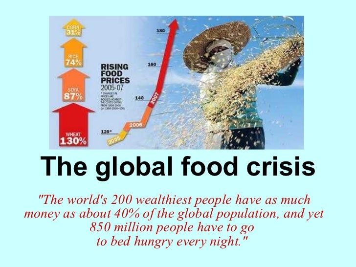 an essay on global food crisis Global food crisis the global crisis in food is not about shortage of food resources or food production it is a crisis in food waste and distribution.