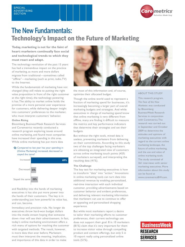 SPECIAL  ADVERTISING  SECTION     Technology's Impact on the Future of Marketing Today, marketing is not for the faint of ...