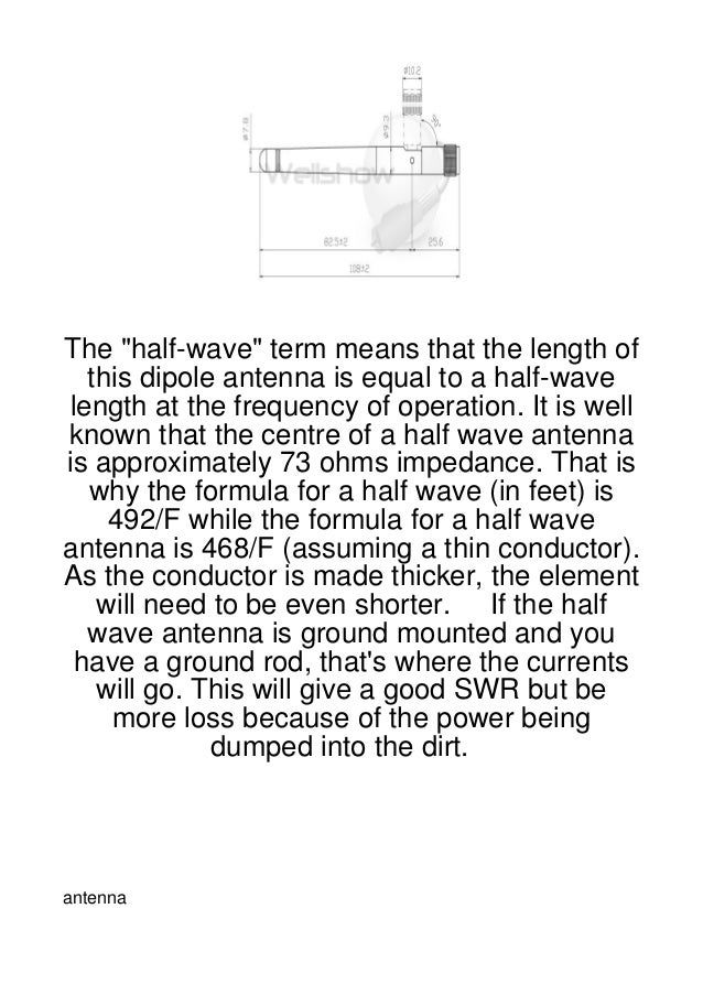 """The """"half-wave"""" term means that the length of  this dipole antenna is equal to a half-wavelength at the frequency of opera..."""