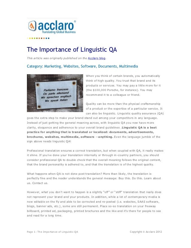 The Importance Of Linguistic QA