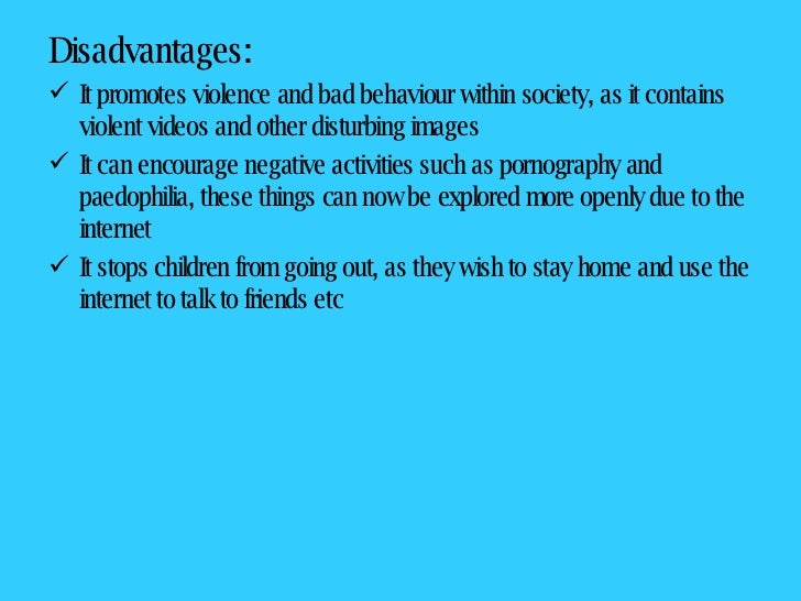 Short essay on disadvantages of internet