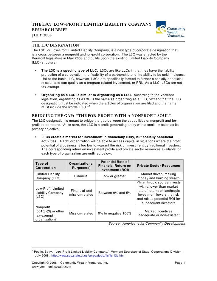 The L3C   The Low Profit Limited Liability Company   Cwv Brief   Updated