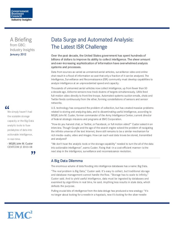 Government Business Council Report: Data Surge and Automated Analysis - The Latest ISR Challenge