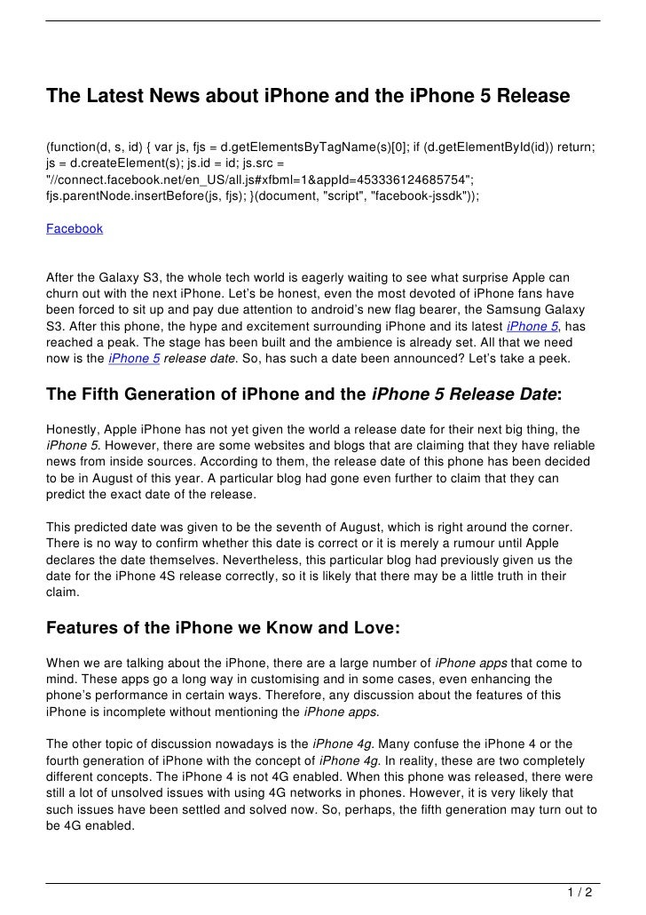 The Latest News about iPhone and the iPhone 5 Release(function(d, s, id) { var js, fjs = d.getElementsByTagName(s)[0]; if ...