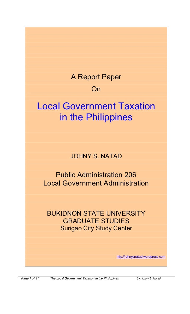 philippine local government taxation One of the major taxes is the local business tax imposed by the local government  unit where one is doing business in the event that a taxpayer.
