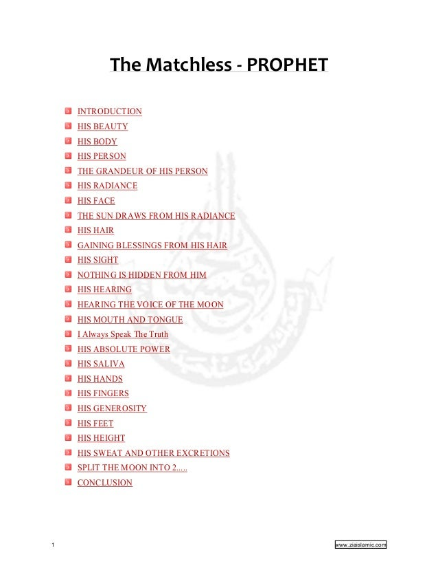 THE MATCHLESS PROPHET