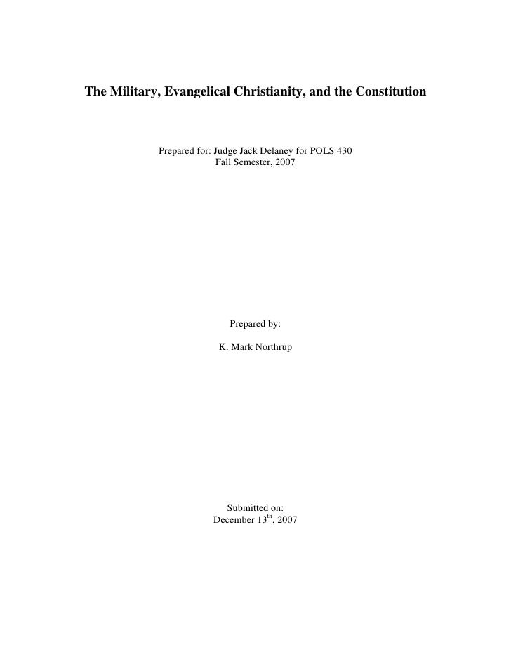 The  Military  Evangelical  Christianity And The  Constitution