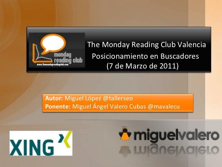 The Monday Reading Club Valencia                            Posicionamiento en Buscadores                         (7 de Ma...