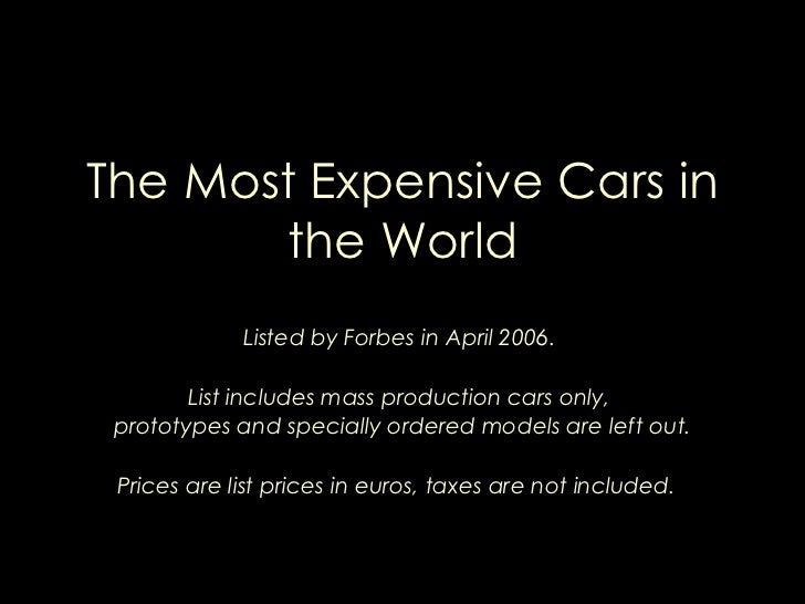The Most Expensive Cars in the World.