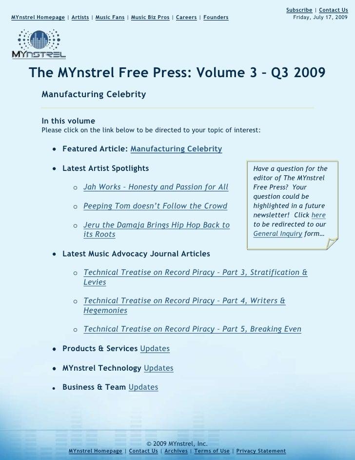 The MYnstrel Free Press Volume 2: Economic Struggles, Meet Jazz