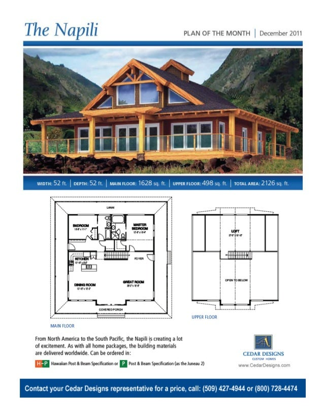 The Napili Hawaiian Post Beam Cedar Homes Kit