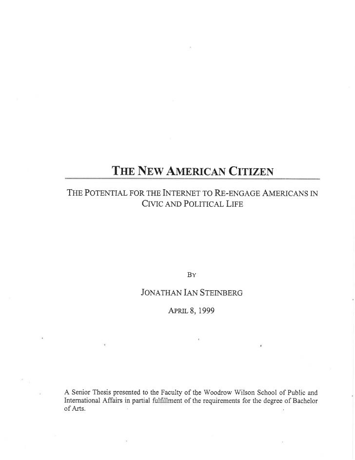 The New American Citzen: The Potential for the Internet to Reengage Americans in Civic and Political Life
