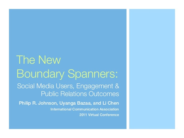 The NewBoundary Spanners:Social Media Users, Engagement &        Public Relations OutcomesPhilip R. Johnson, Uyanga Bazaa,...