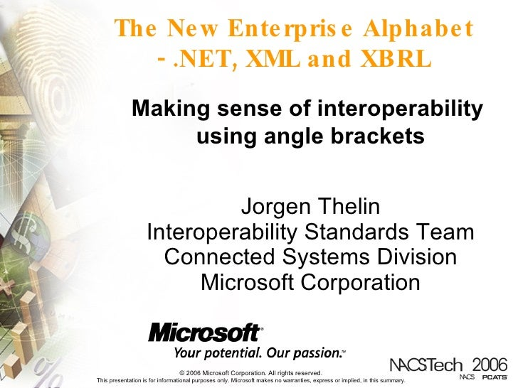 The New Enterprise Alphabet - .NET, XML and XBRL Making sense of interoperability  using angle brackets Jorgen Thelin Inte...