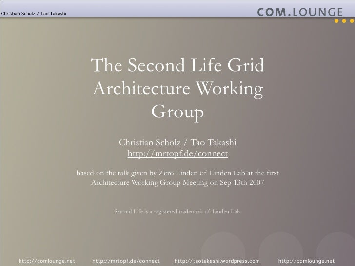 Christian Scholz / Tao Takashi                                          The Second Life Grid                              ...