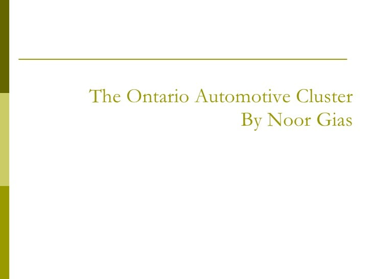 The Ontario Automotive Cluster