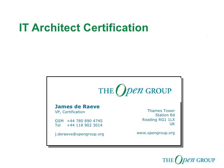 The Open Group Architect Certification