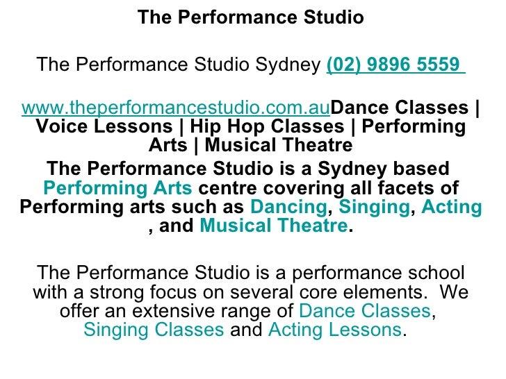 The Performance Studio, Dance Classes, Singing Classes, Acting Classes