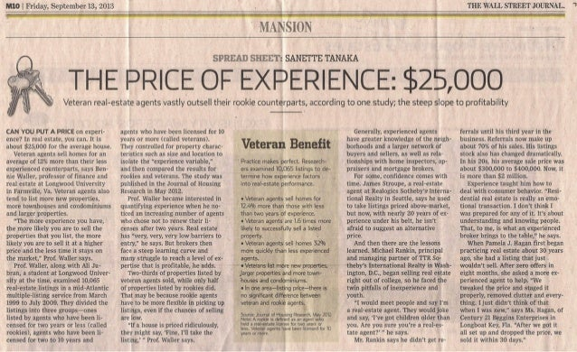 The Price of Experience: $25,000