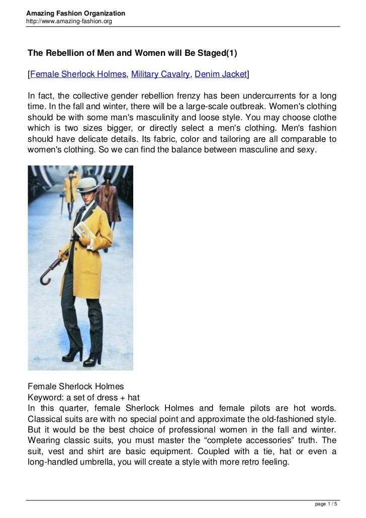 Amazing Fashion Organizationhttp://www.amazing-fashion.orgThe Rebellion of Men and Women will Be Staged(1)[Female Sherlock...