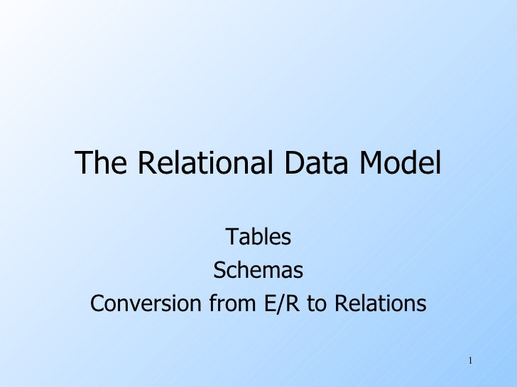 The Relational Data Model Tables Schemas Conversion from E/R to Relations
