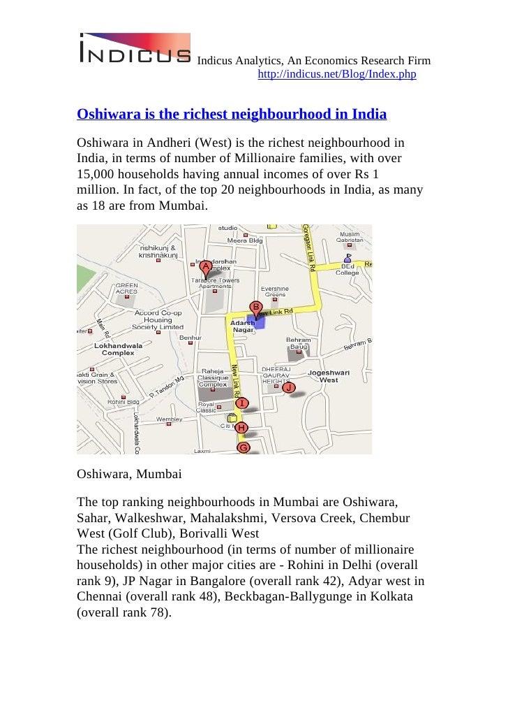 The Richest Neighbourhoods Of India