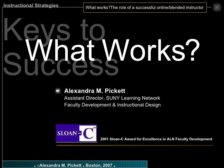Keys to Success What Works? Alexandra M. Pickett   Assistant Director, SUNY Learning Network Faculty Development & Instruc...