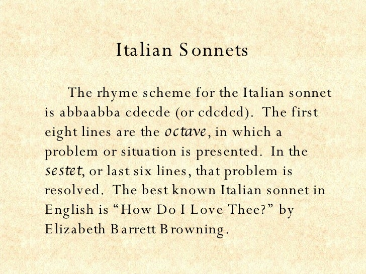 How to write a italian sonnet