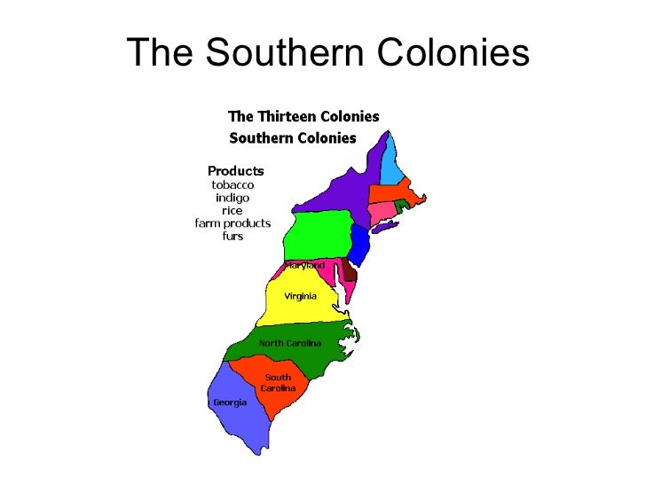 english colonies north and south