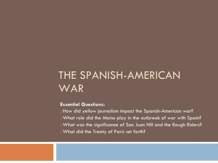 spanish american war essay questions The spanish-american war was an armed military conflict between spain and the united states that took place from april  document based question: the essay.