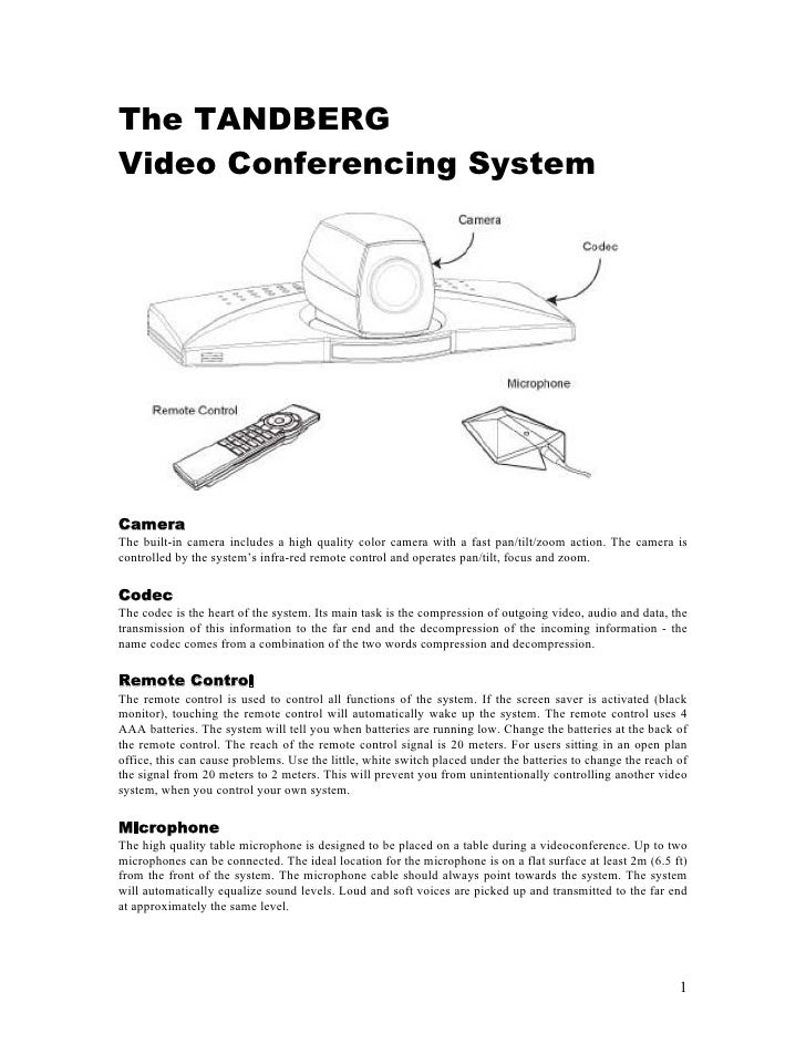 The TANDBERG Video Conferencing System     Camera The built-in camera includes a high quality color camera with a fast pan...