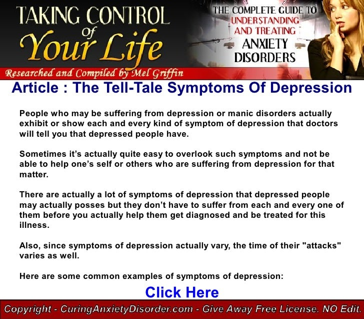 Article : The Tell-Tale Symptoms Of Depression  People who may be suffering from depression or manic disorders actually  e...