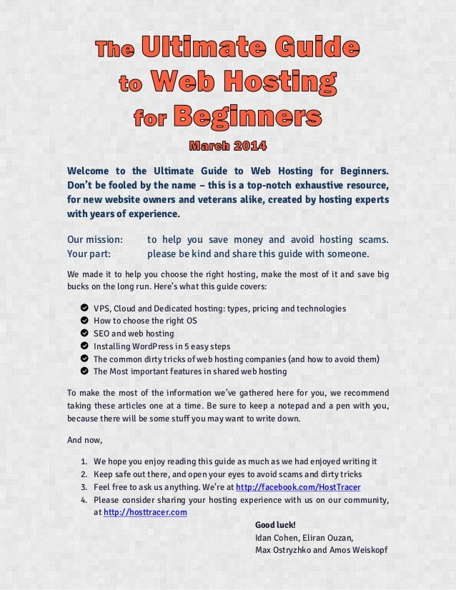 The Ultimate Guide to Web-Hosting for Beginners