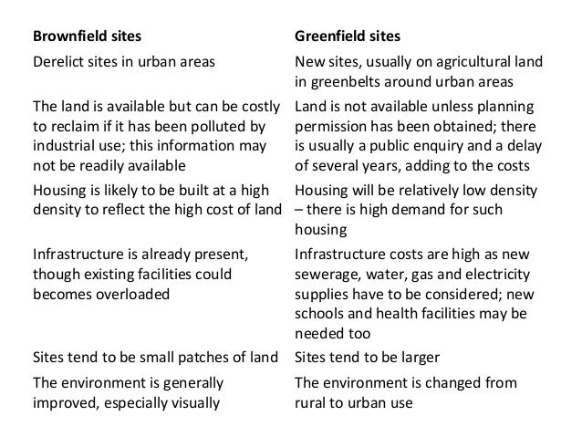 What are the Advantages and Disadvantages of Greenfield and Brownfield sites?