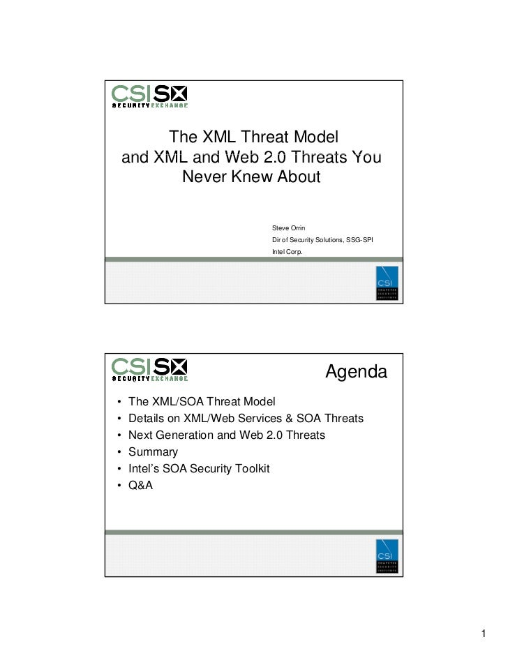 The XML Threat Model and XML and Web 2.0 Threats You                 20       Never Knew About                            ...