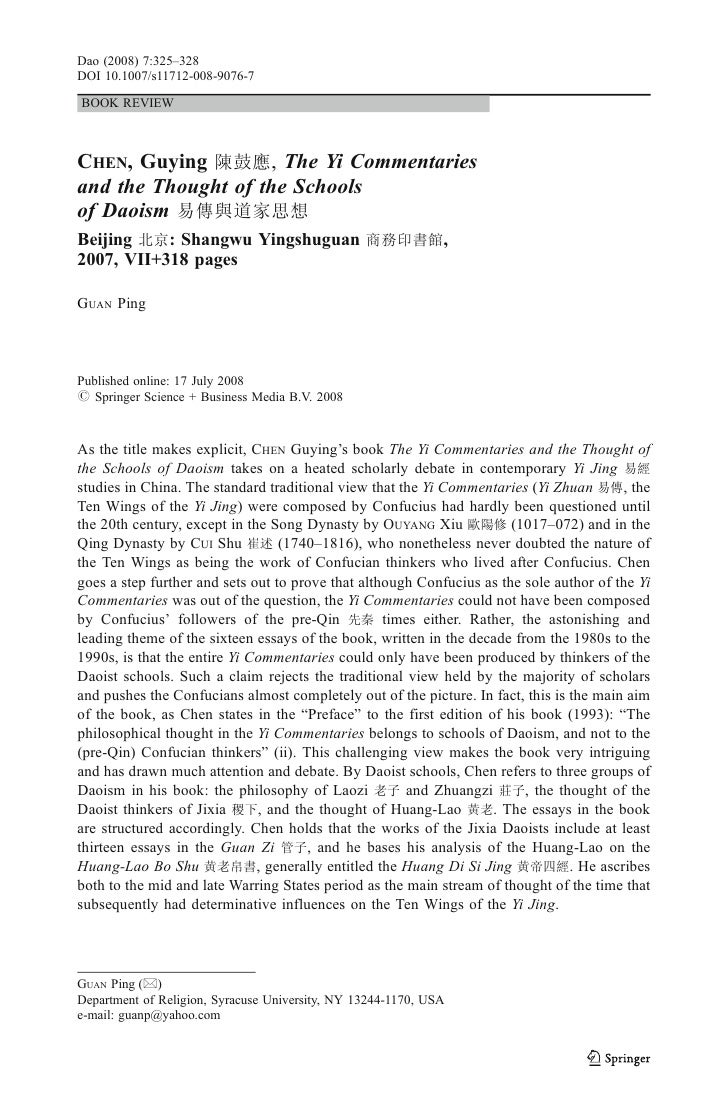 Dao (2008) 7:325–328 DOI 10.1007/s11712-008-9076-7  BOOK REVIEW    CHEN, Guying         , The Yi Commentaries and the Thou...
