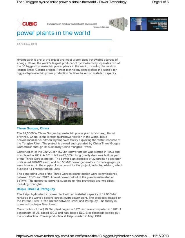 The 10 biggest hydroelectric power plants in the world - Power Technology  Page 1 of 6  The 10 biggest hydroelectric power...