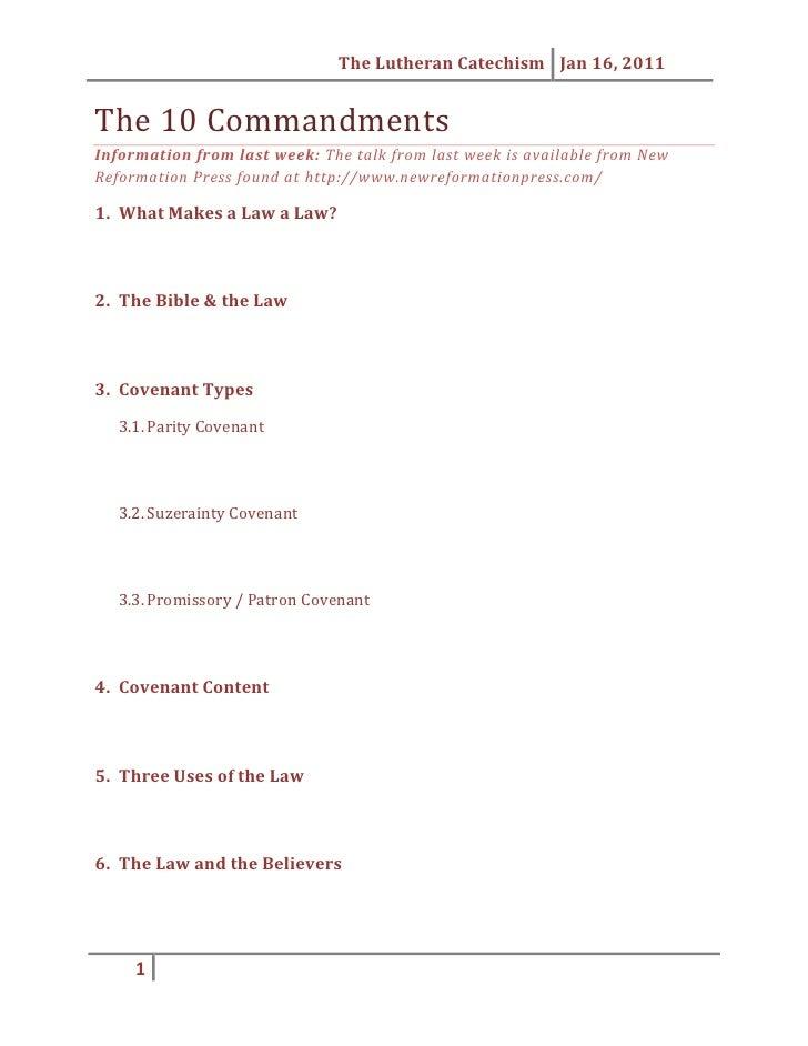 The 10 Commandments Handout