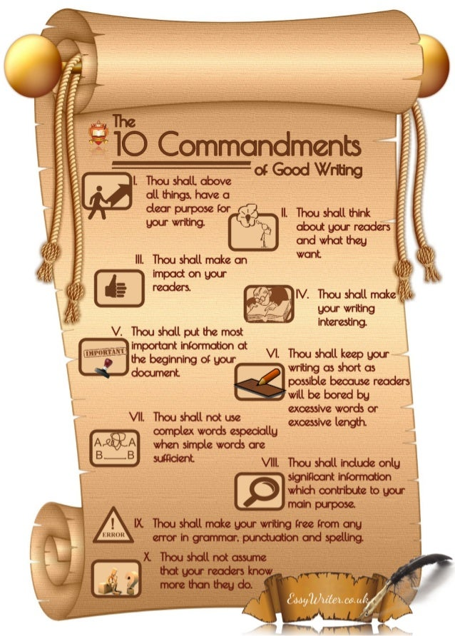 commandments of essay writing The ten commandments of thesis writing 1 a thesis paper is not a reaction paper or essay in which there are apparent freedoms for expression.