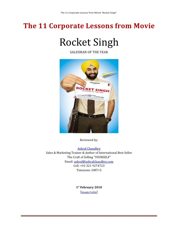 The 11 Corporate Lessons From Movie Rocket Singh By Ashraf Chaudhry