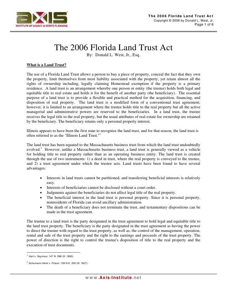 The 2006 Florida Land Trust Act                                                                                          C...